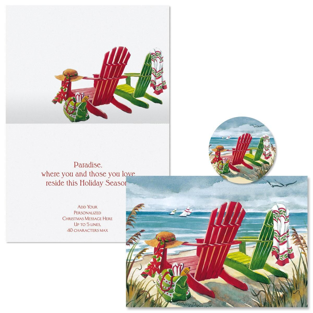 Seashore Christmas Cards -  Personalized