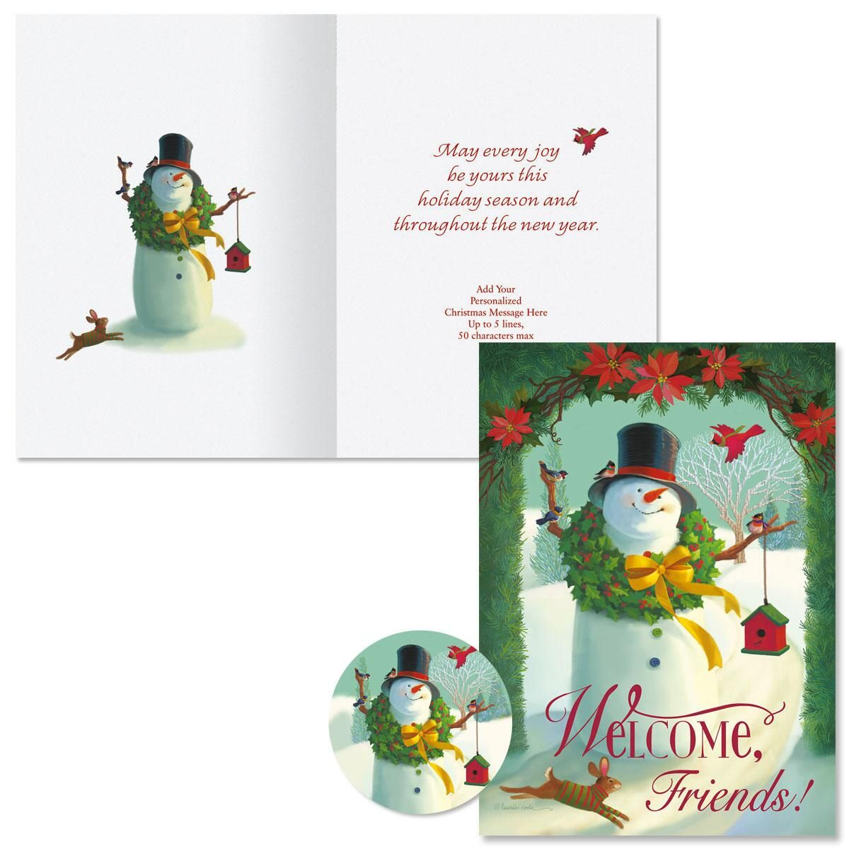 Welcome Snowman Christmas Cards -  Personalized
