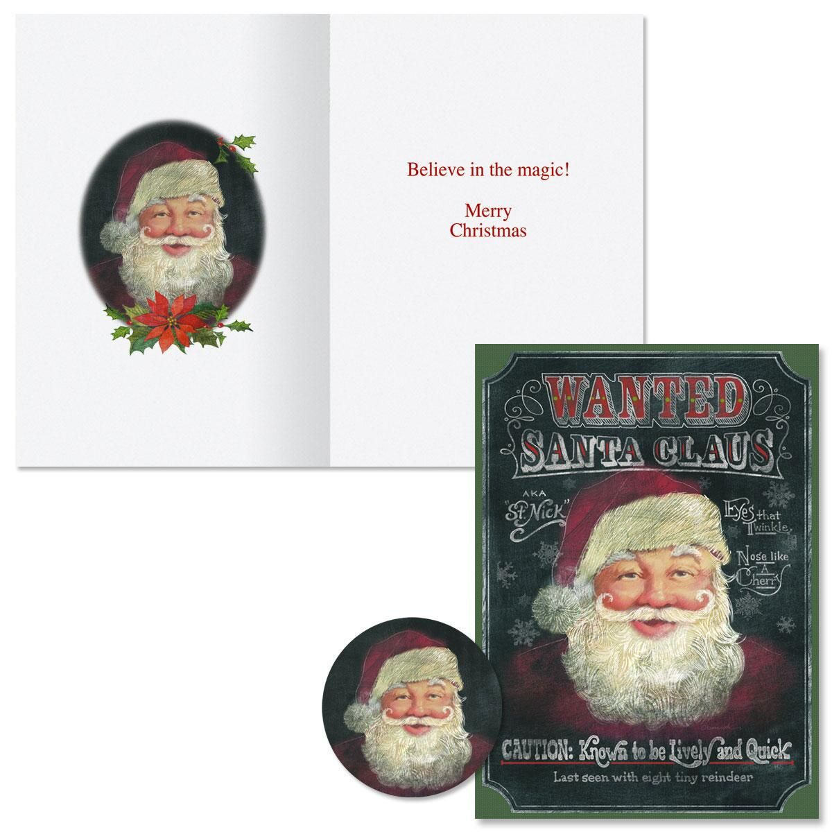 Wanted Santa Christmas Cards -  Nonpersonalized