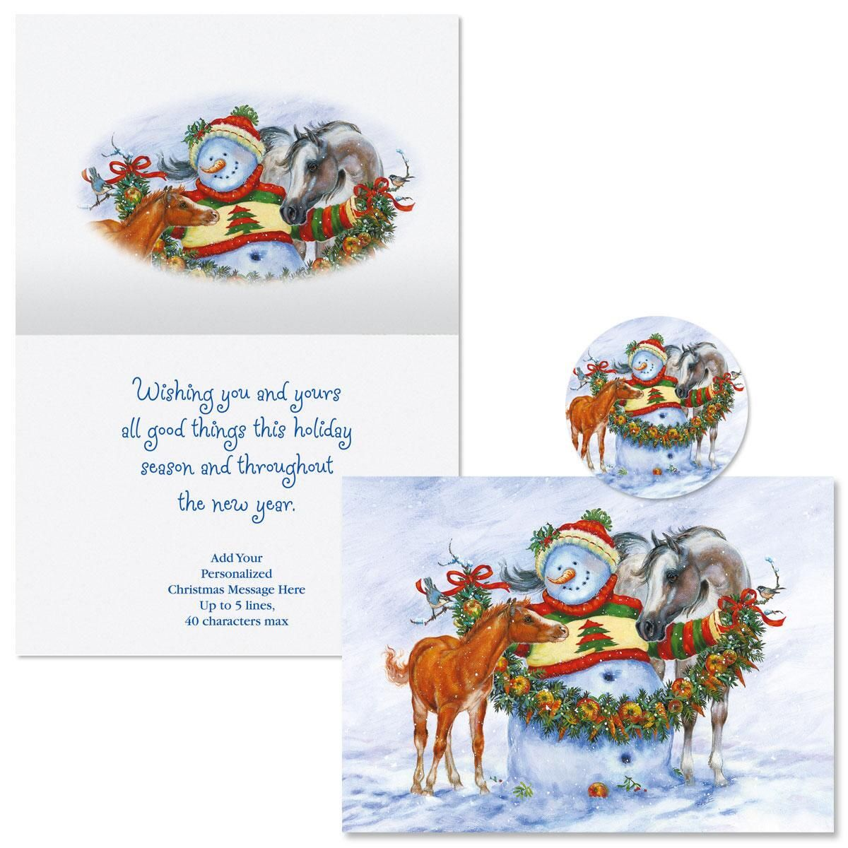 Frosty, Foal, and Felicity Christmas Cards -  Personalized