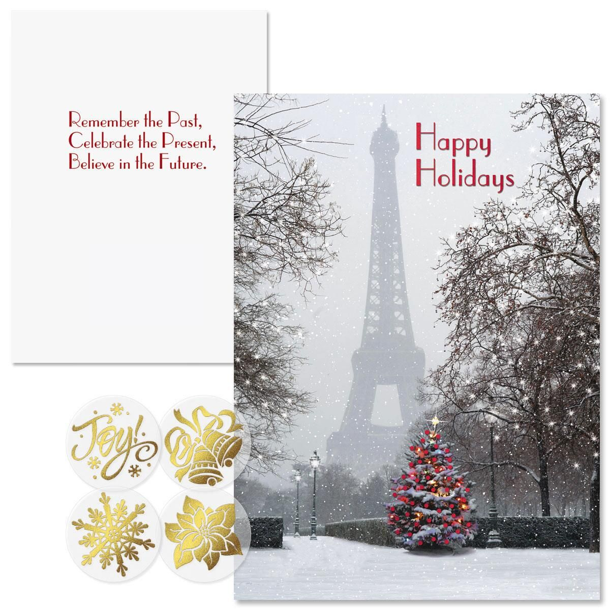 Paris in the Snow Foil Christmas Cards -  Nonpersonalized