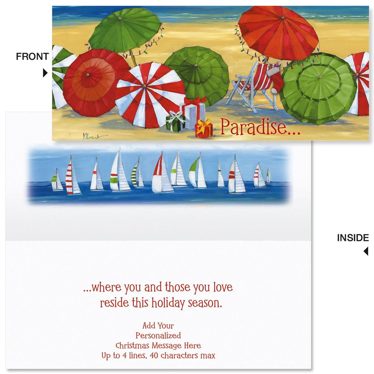 Holiday Umbrella  Slimline Holiday Cards