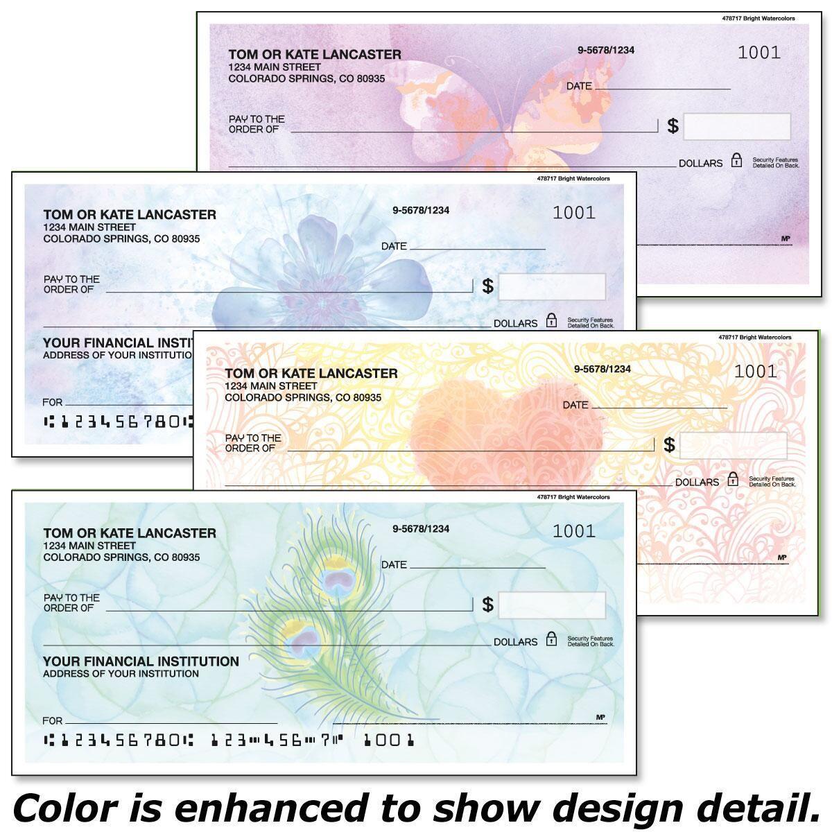 Bright Watercolors Personal Checks