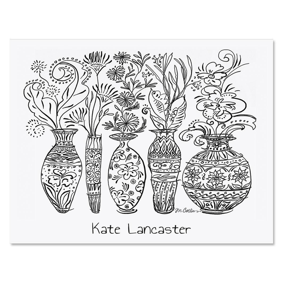Black & White Decorative Vases Personalized Note Cards
