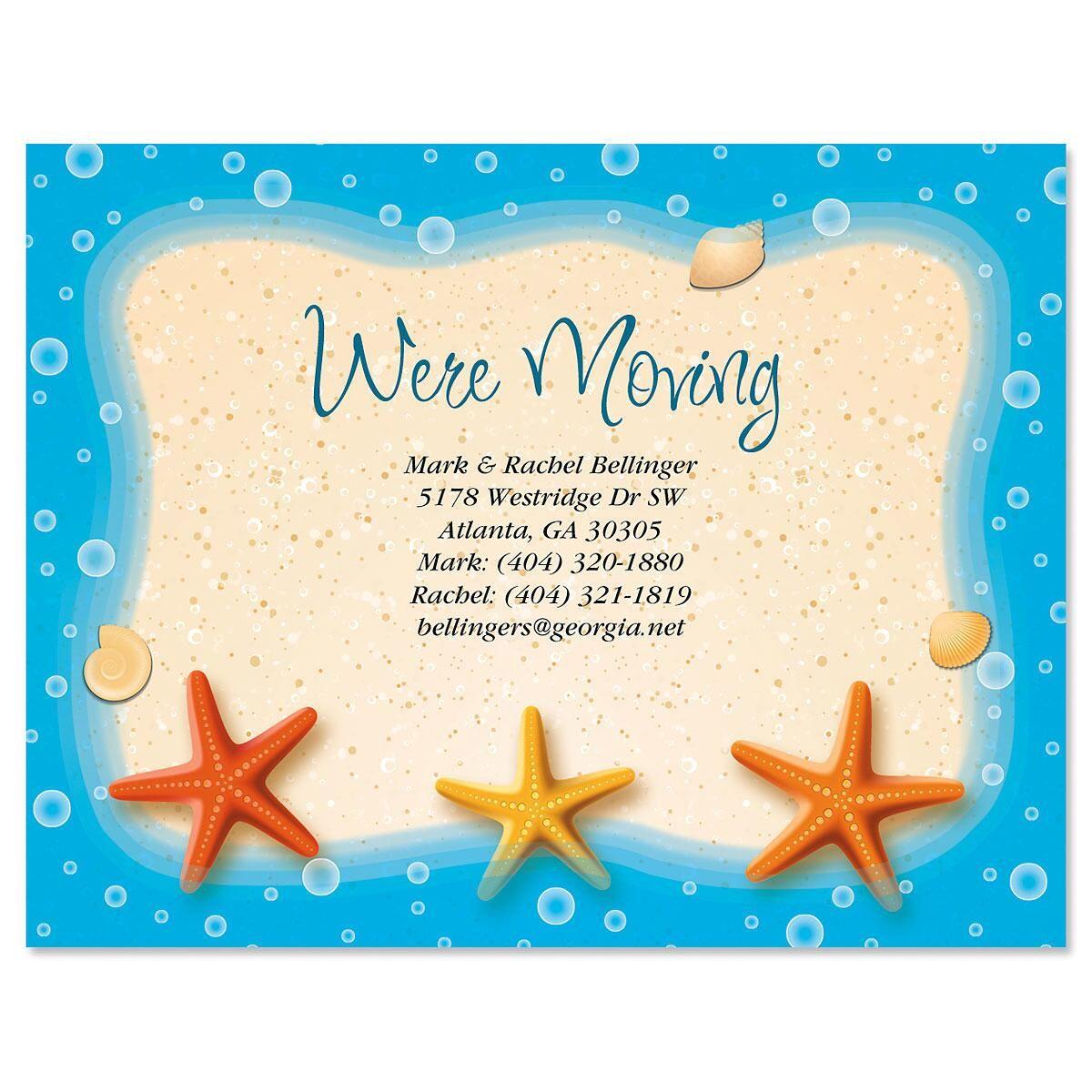 Starfish Trio We've Moved Postcards