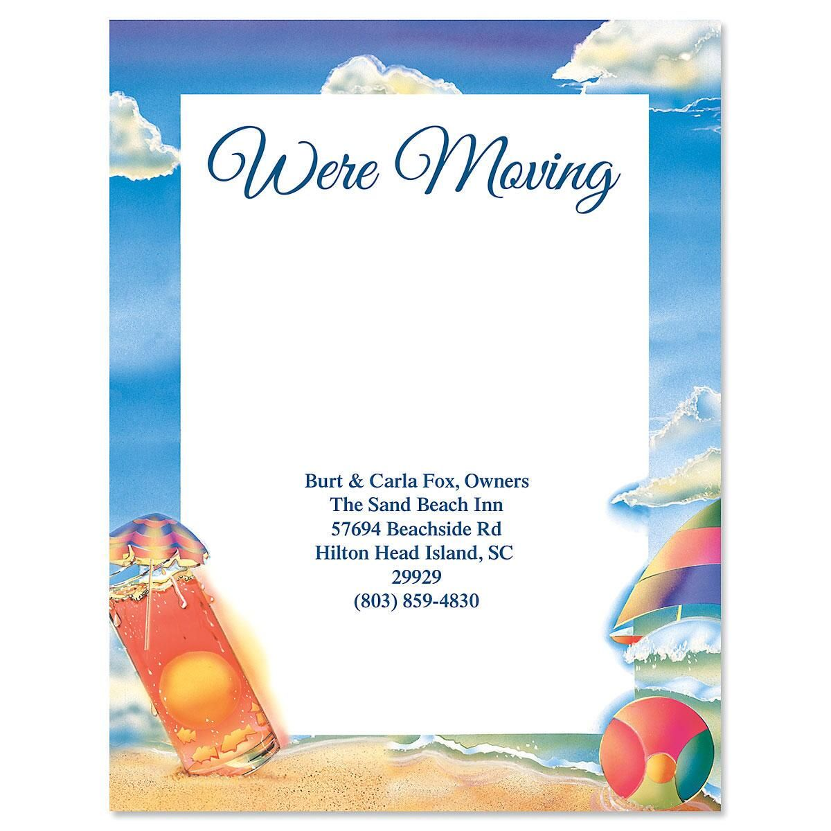 Summer Beach We've Moved Postcards