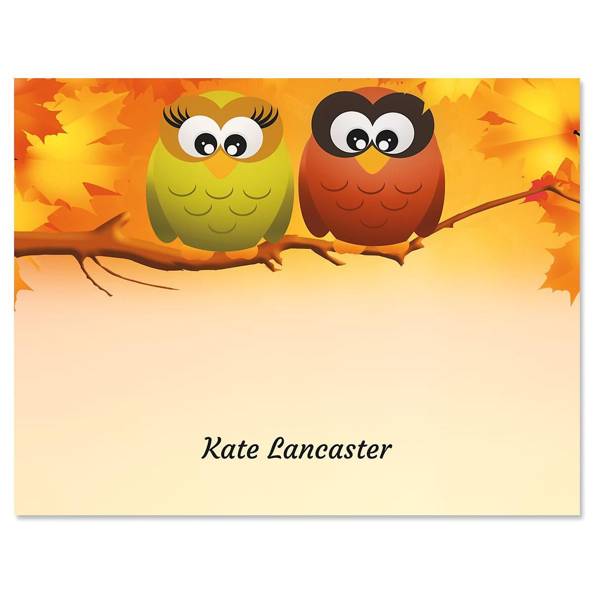 Owls In Autumn Personalized Note Card