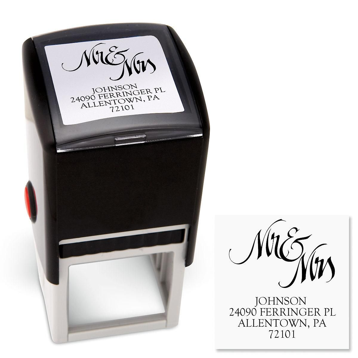 Mr & Mrs Square Address Stamp