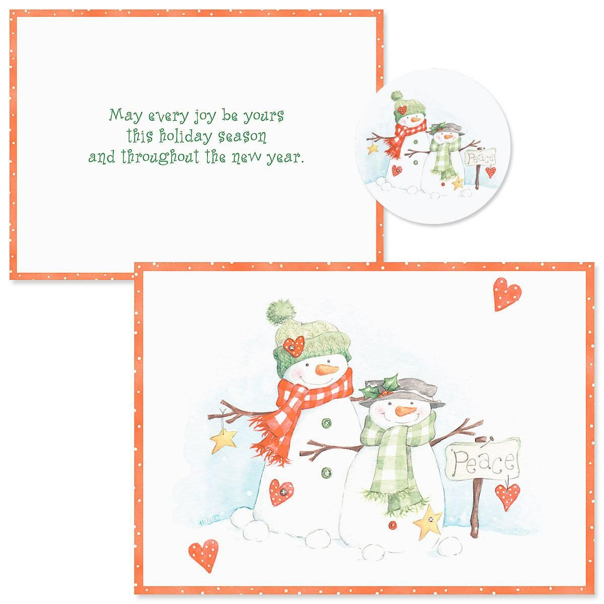 Peace Snowmen  Christmas Cards -  Nonpersonalized