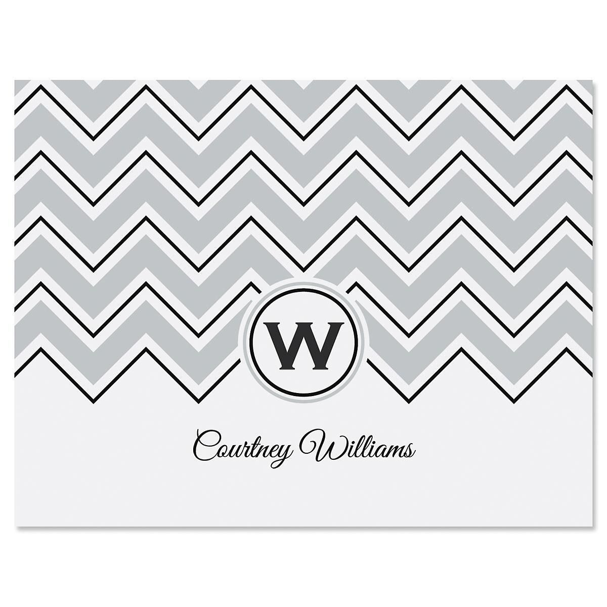 Cosmopolitan Chevron Personalized Note Cards