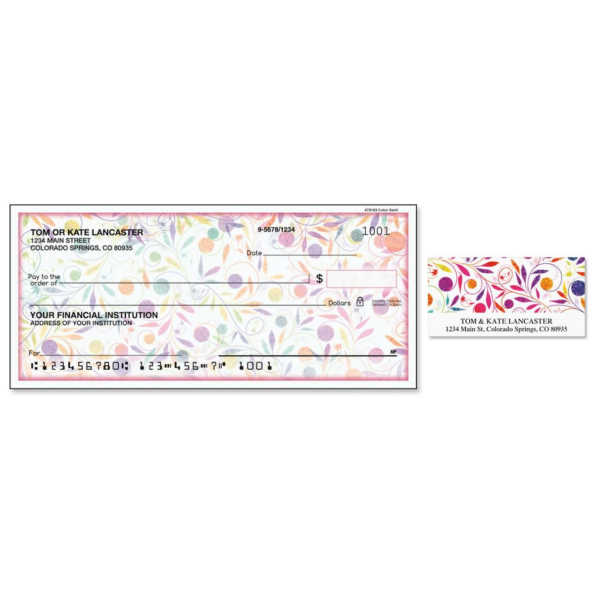 Color Swirl Single Checks with Matching Address Labels