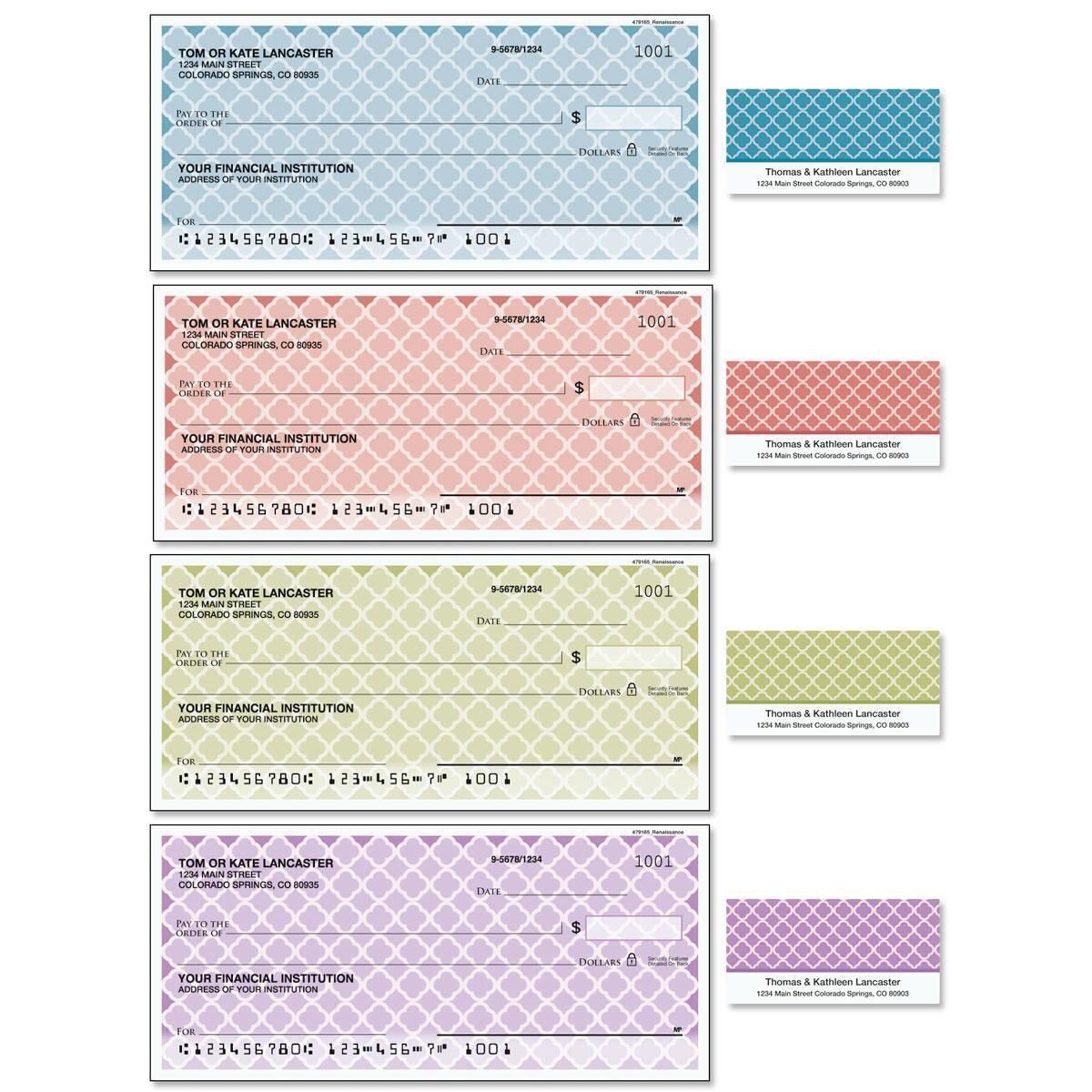Renaissance Single Checks with Matching Address Labels