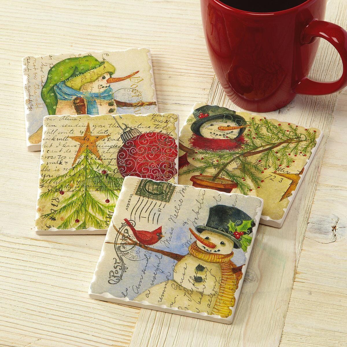 Postcard Christmas Coasters