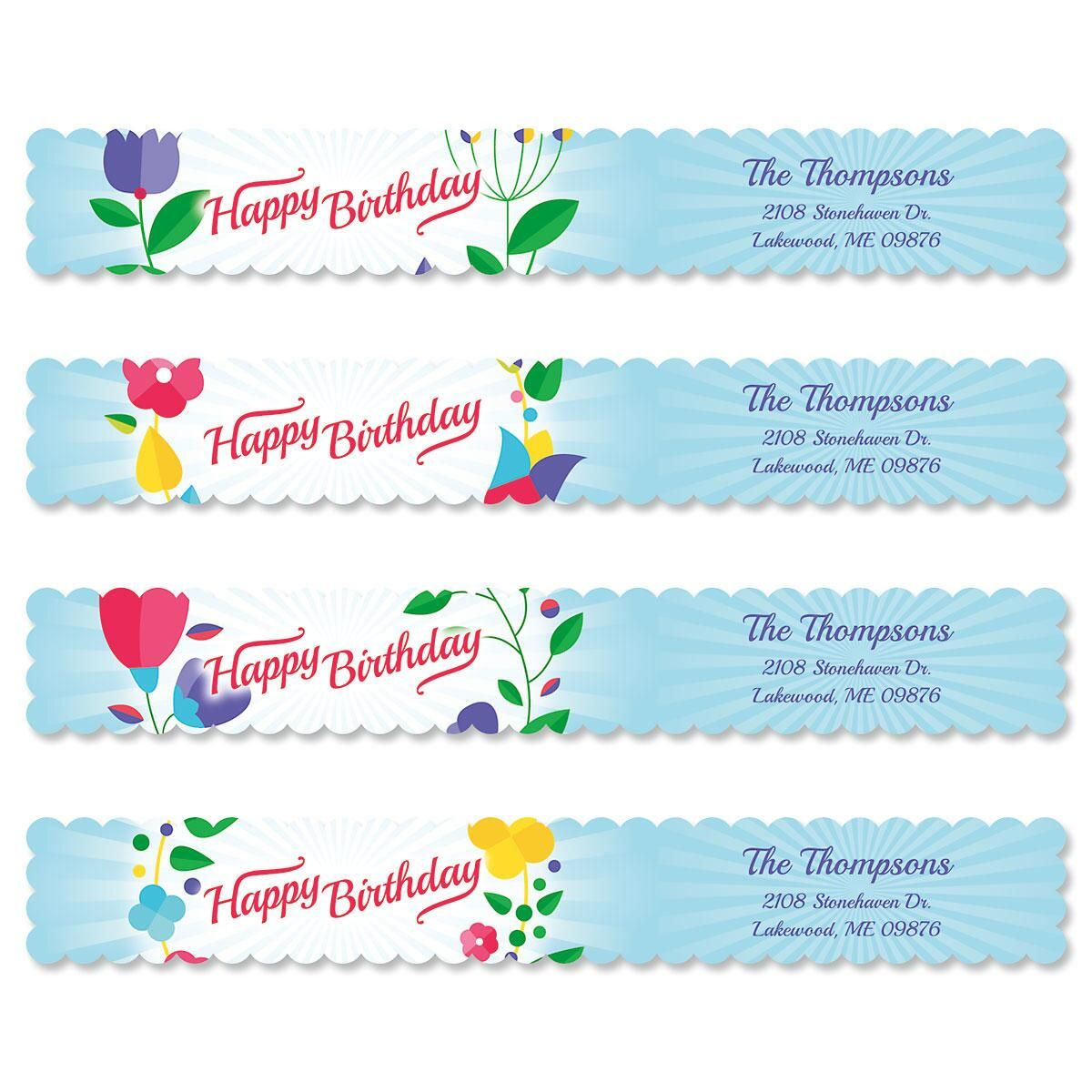 Cheerful Blooms Connect Wrap Diecut Address Labels  (4 Designs)