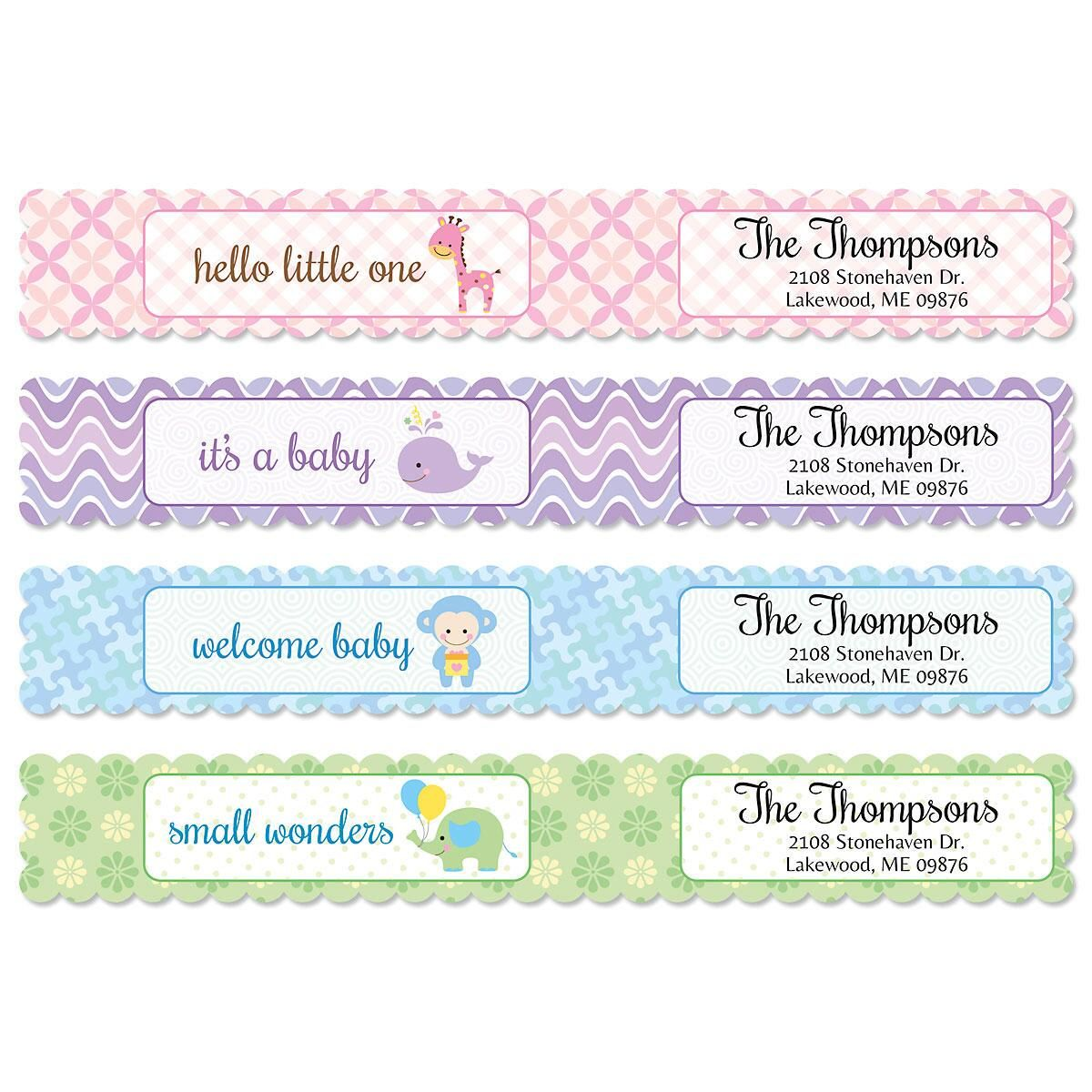 Delightful Baby Connect Wrap Diecut Address Labels  (4 Designs)