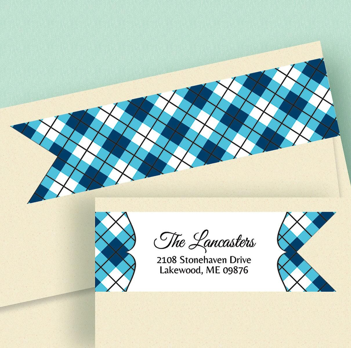 Argyle Connect Wrap Diecut Address Labels  (8 Designs)