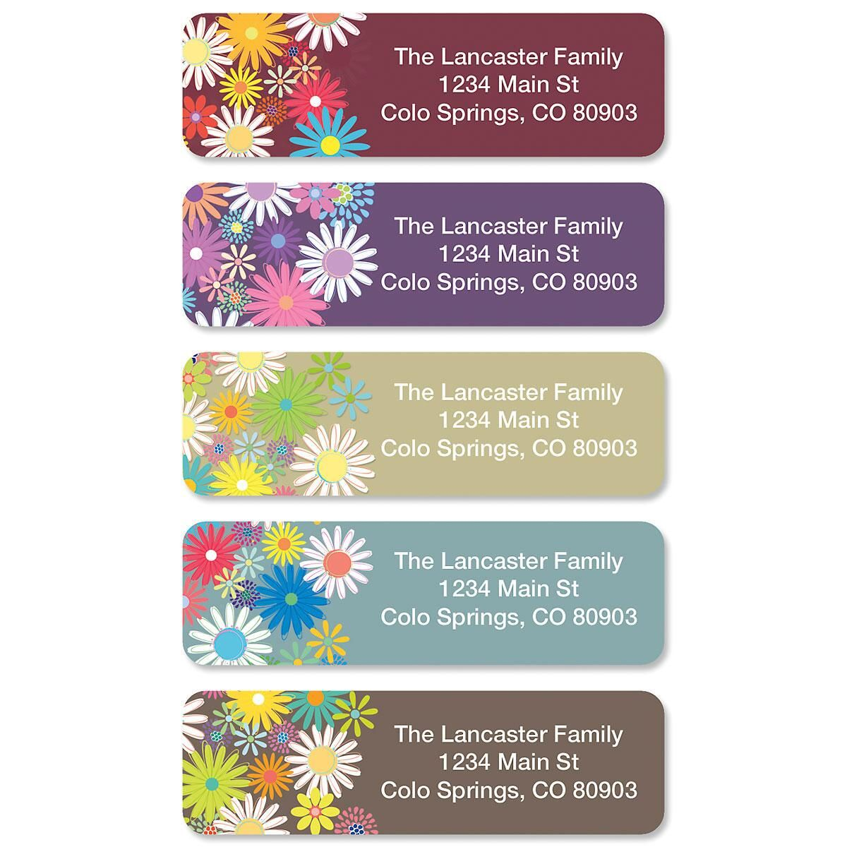 Petite Flowers Rolled Return Address Labels  (5 Designs)