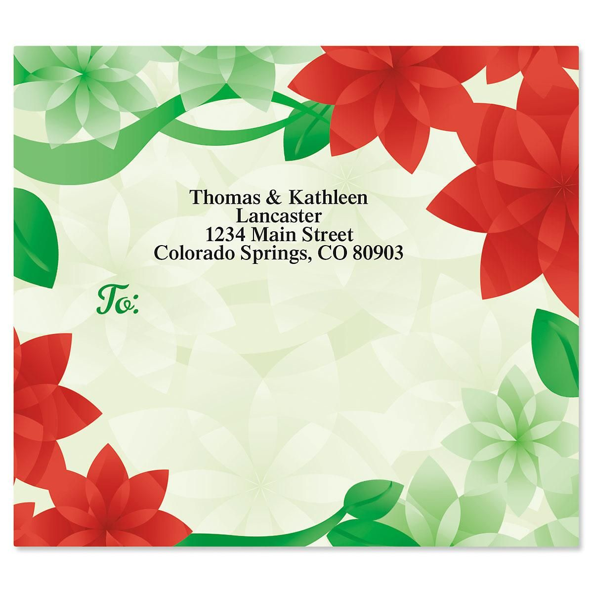Poinsettia Petals Package Labels