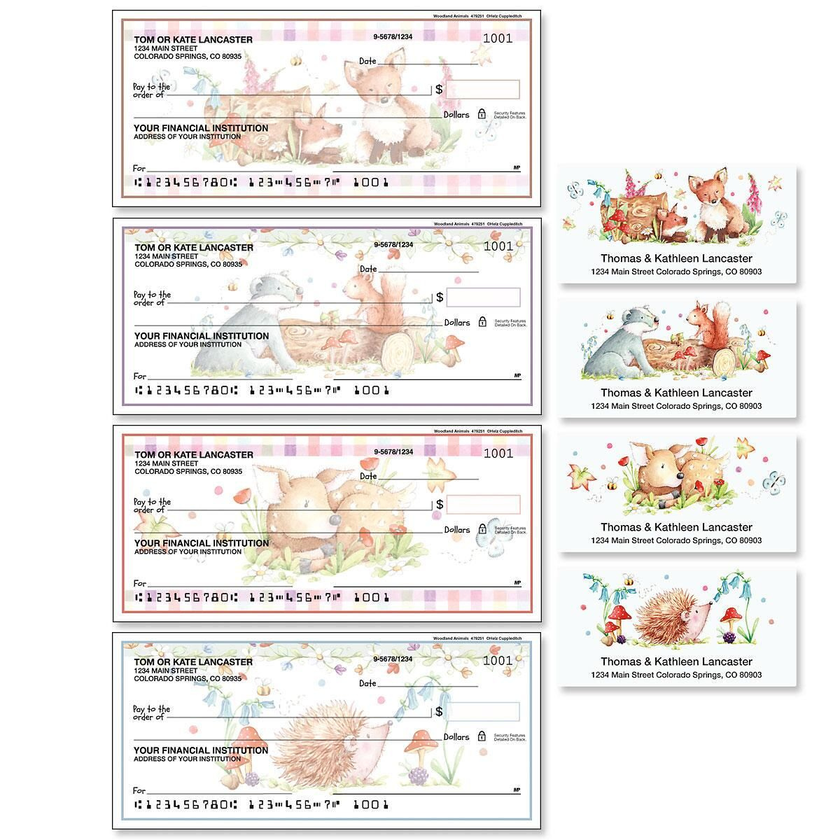 Woodland Animals Duplicate Checks with Matching Address Labels