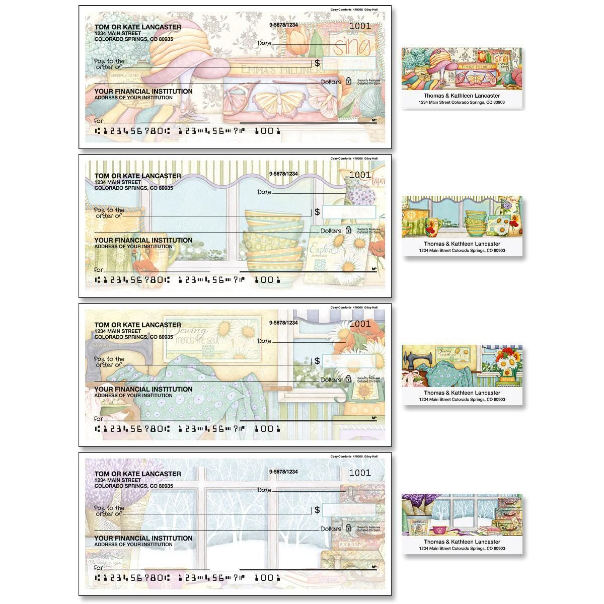 Cozy Comforts Single Checks with Matching Address Labels