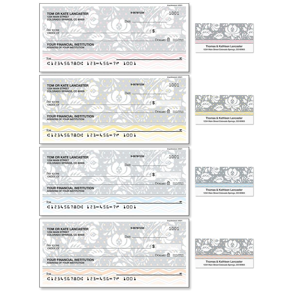 Gray Botanical Single Checks with Matching Address Labels