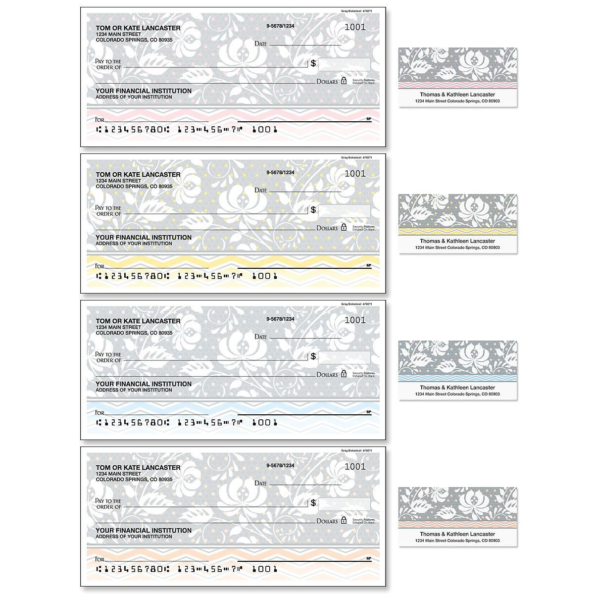 Gray Botanical Duplicate Checks with Matching Address Labels