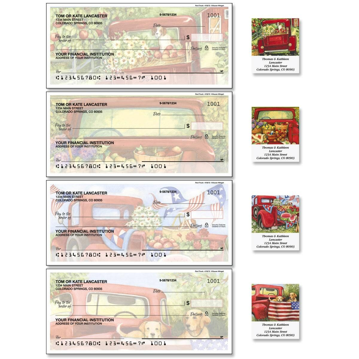 Red Truck Duplicate Checks with Matching Address Labels