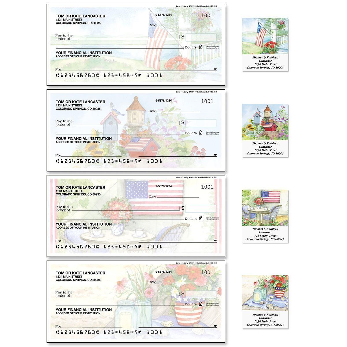 Land of Liberty Single Checks with Matching Address Labels