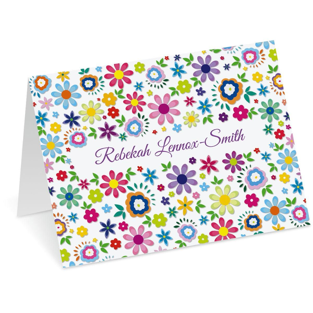 Cheerful Florals Custom Note Cards