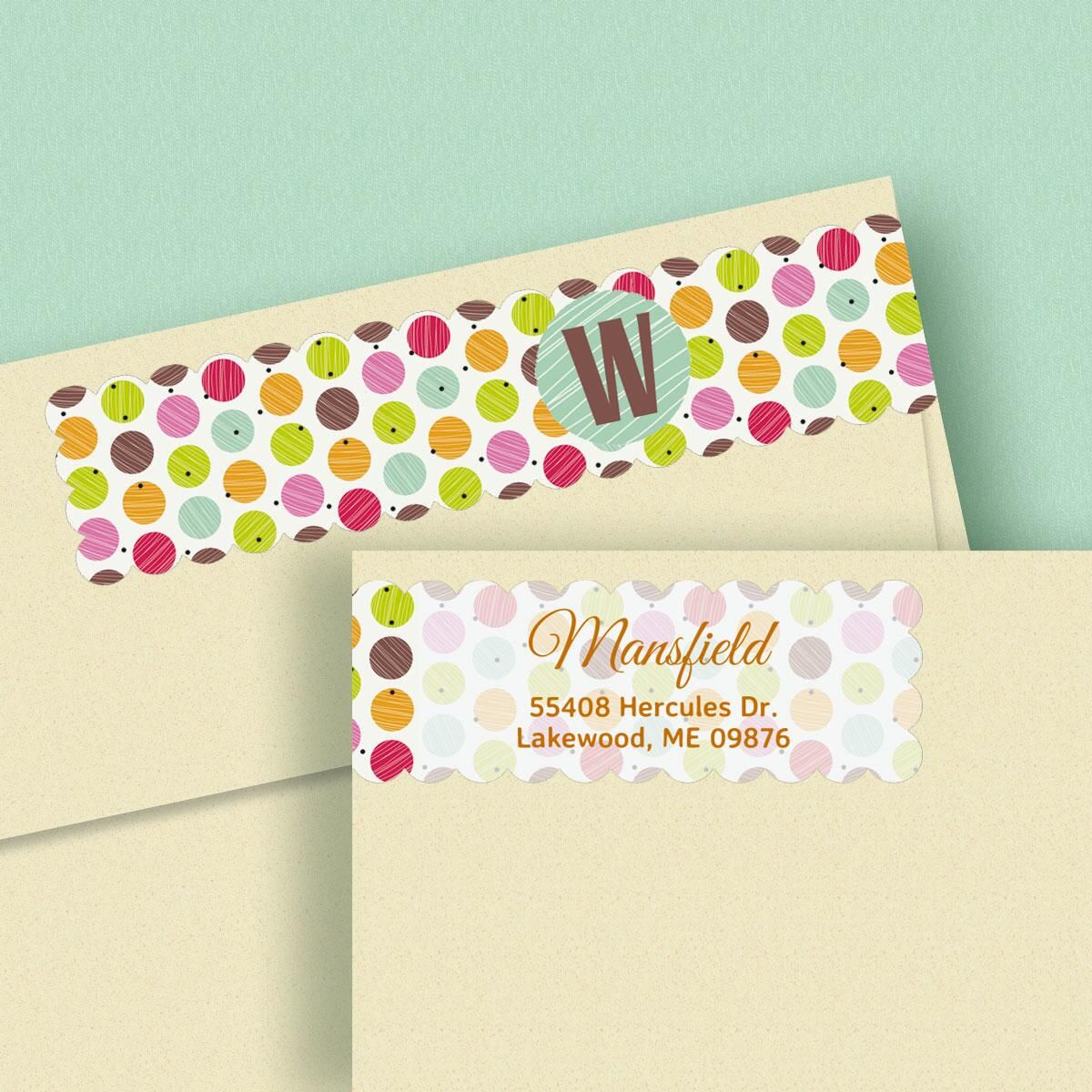 It is a photo of Lively Polka Dot Mailing Labels
