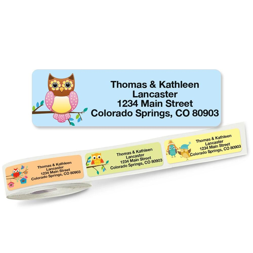 Owls Rolled Return Address Labels  (5 Designs)