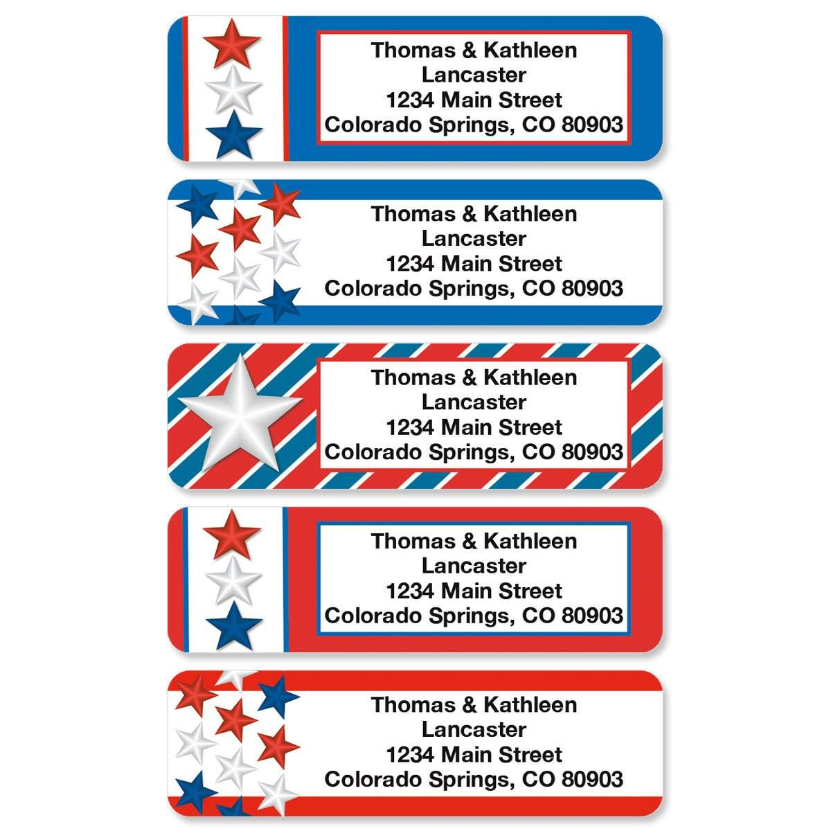 Star Spangled Rolled Address Labels