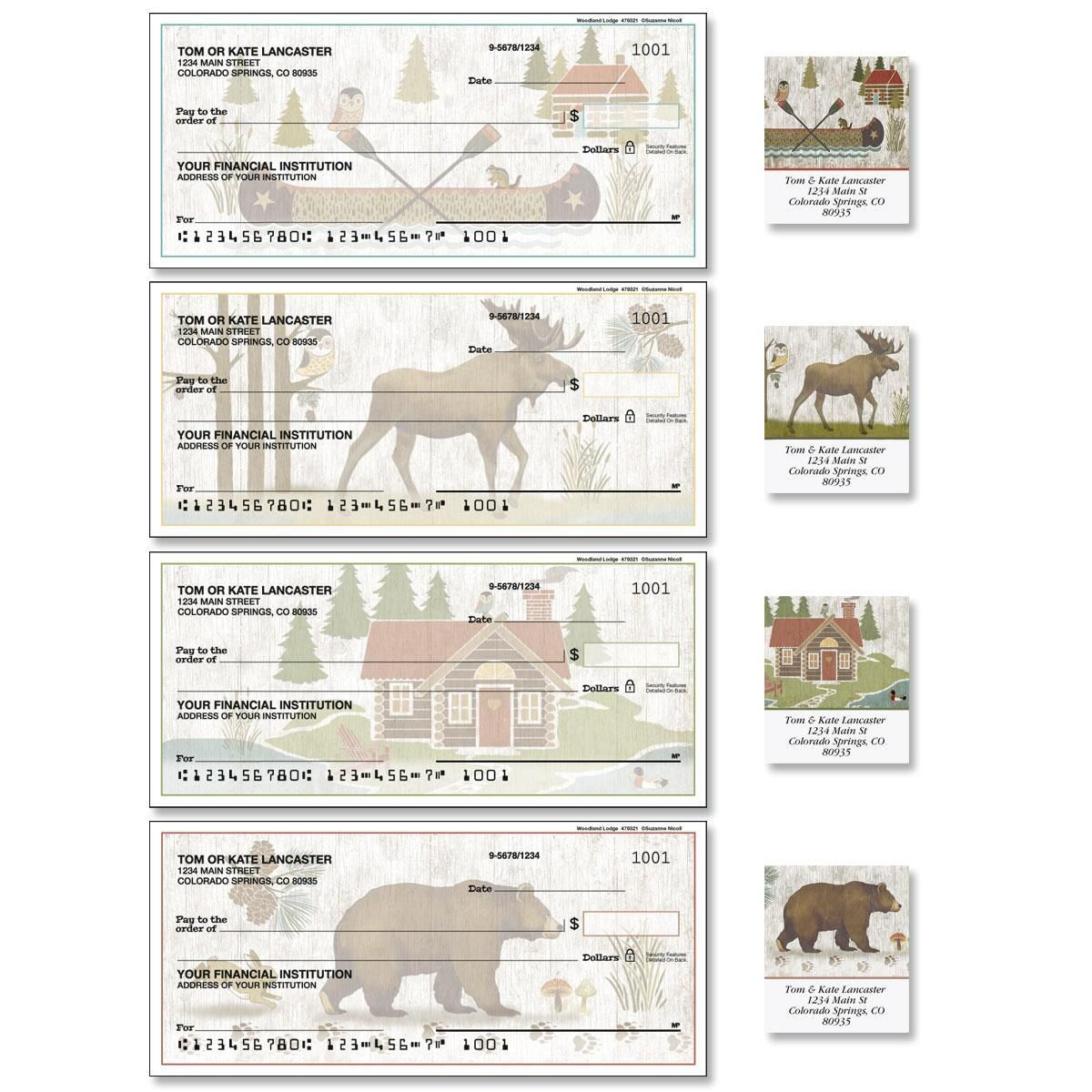 Woodland Lodge Single Checks with Matching Address Labels