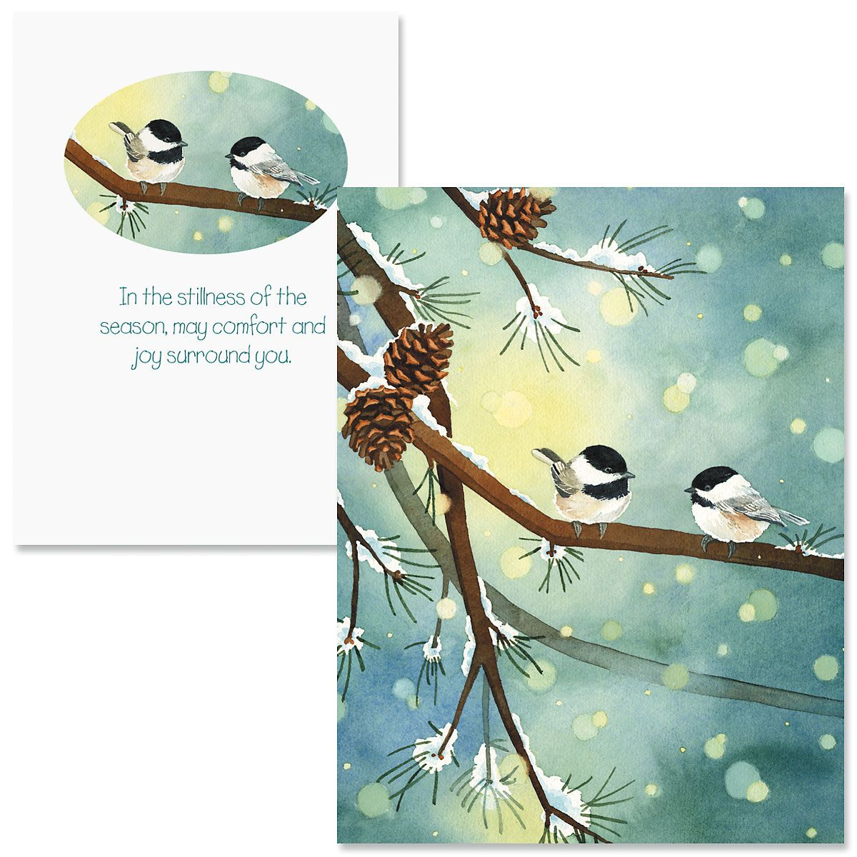 Pine Birds Note Card Size Christmas Cards | Colorful Images