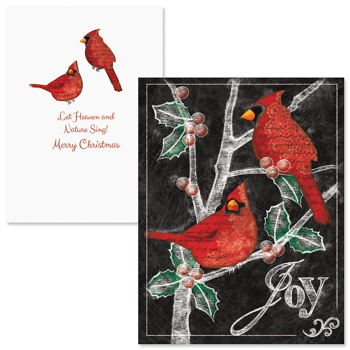 Holly Cardinals Note Card Size Christmas Cards
