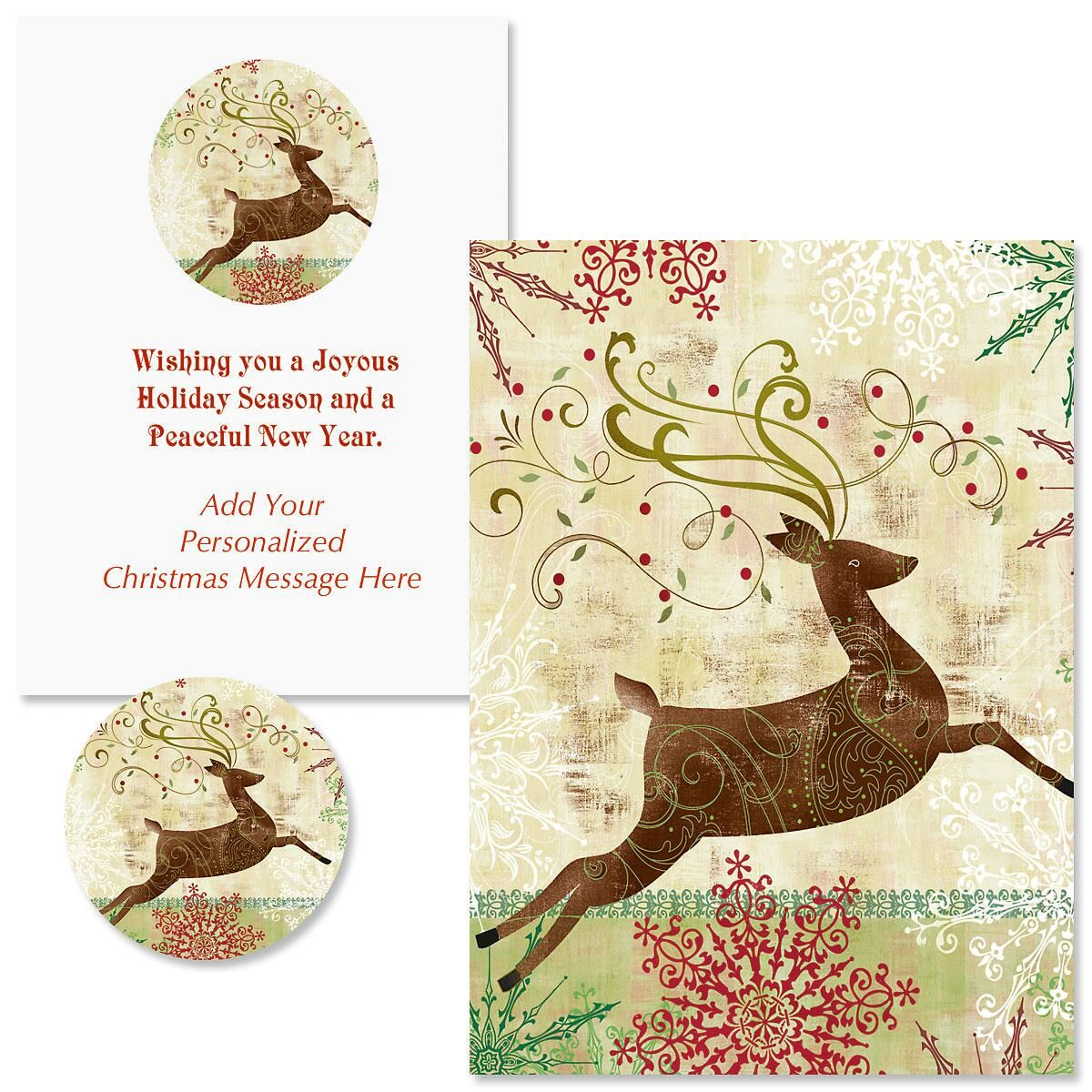 Regal Reindeer Christmas Cards - Personalized