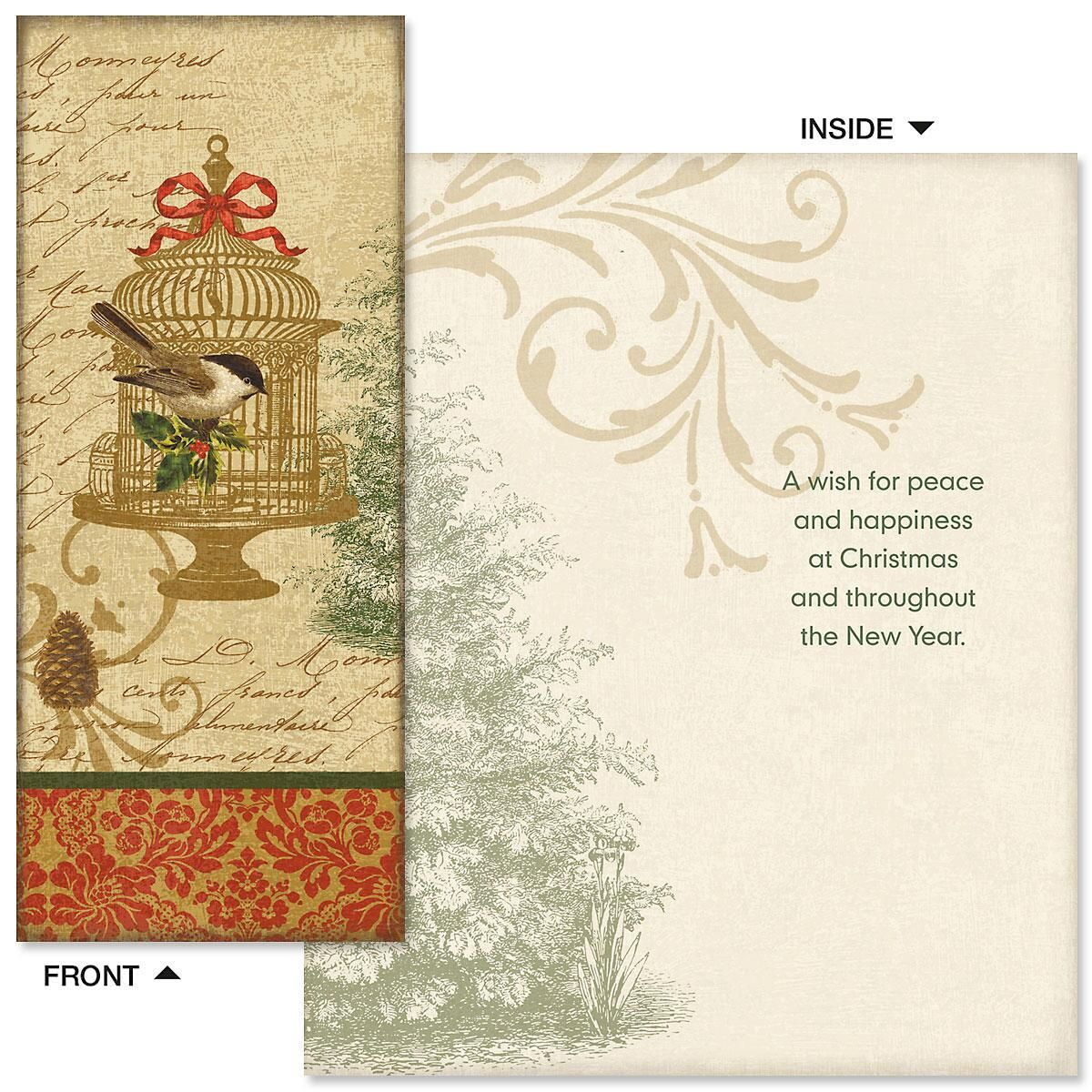 Golden Birdcage Slimline Holiday Cards