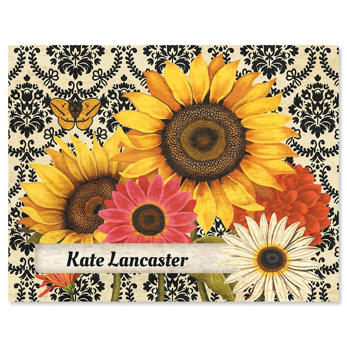 French Sunflower Personalized Note Cards
