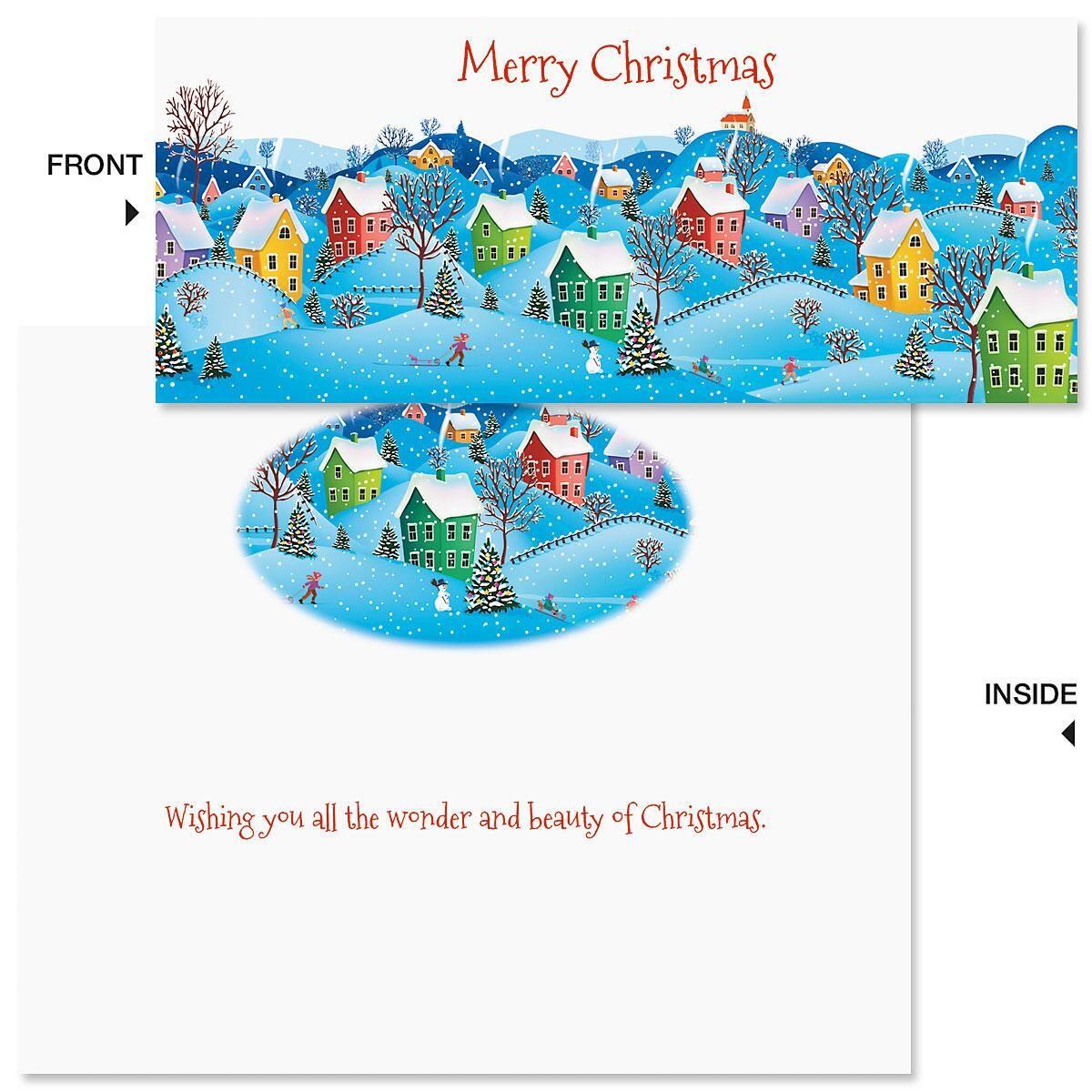 Snow Village Slimline Holiday Cards