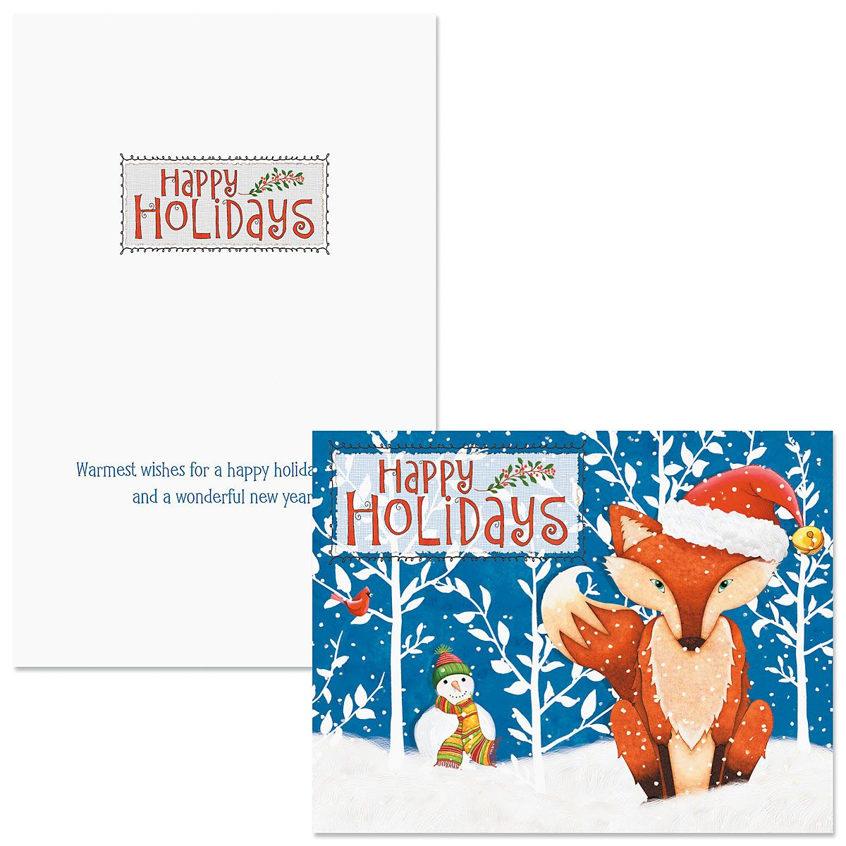 Frosty Fox Note Card Size Christmas Cards