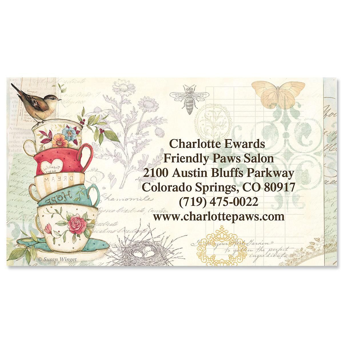 Teacups Business Cards | Colorful Images