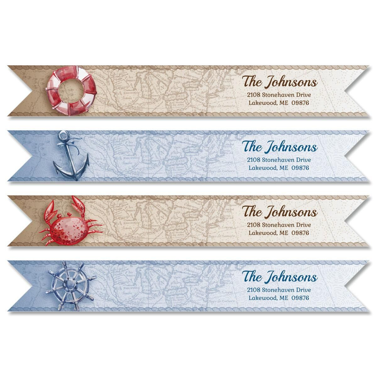 Nautical Connect Wrap Diecut Address Labels 4 Designs)