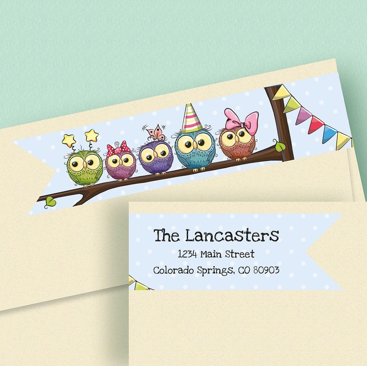 Festive Owls Connect Wrap Diecut Return Address Labels