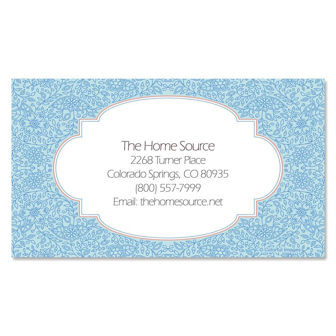 Blue Floral Standard Business Cards
