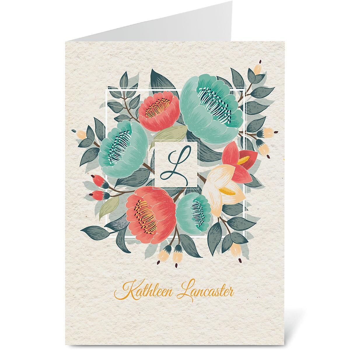 Bouquet Initial Custom Note Cards