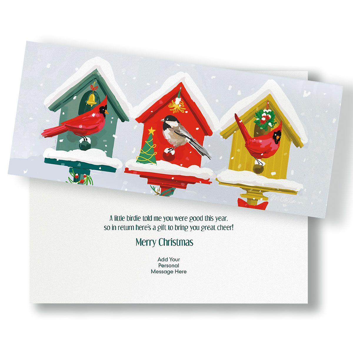 Holiday Birdhouses Slimline Holiday Cards