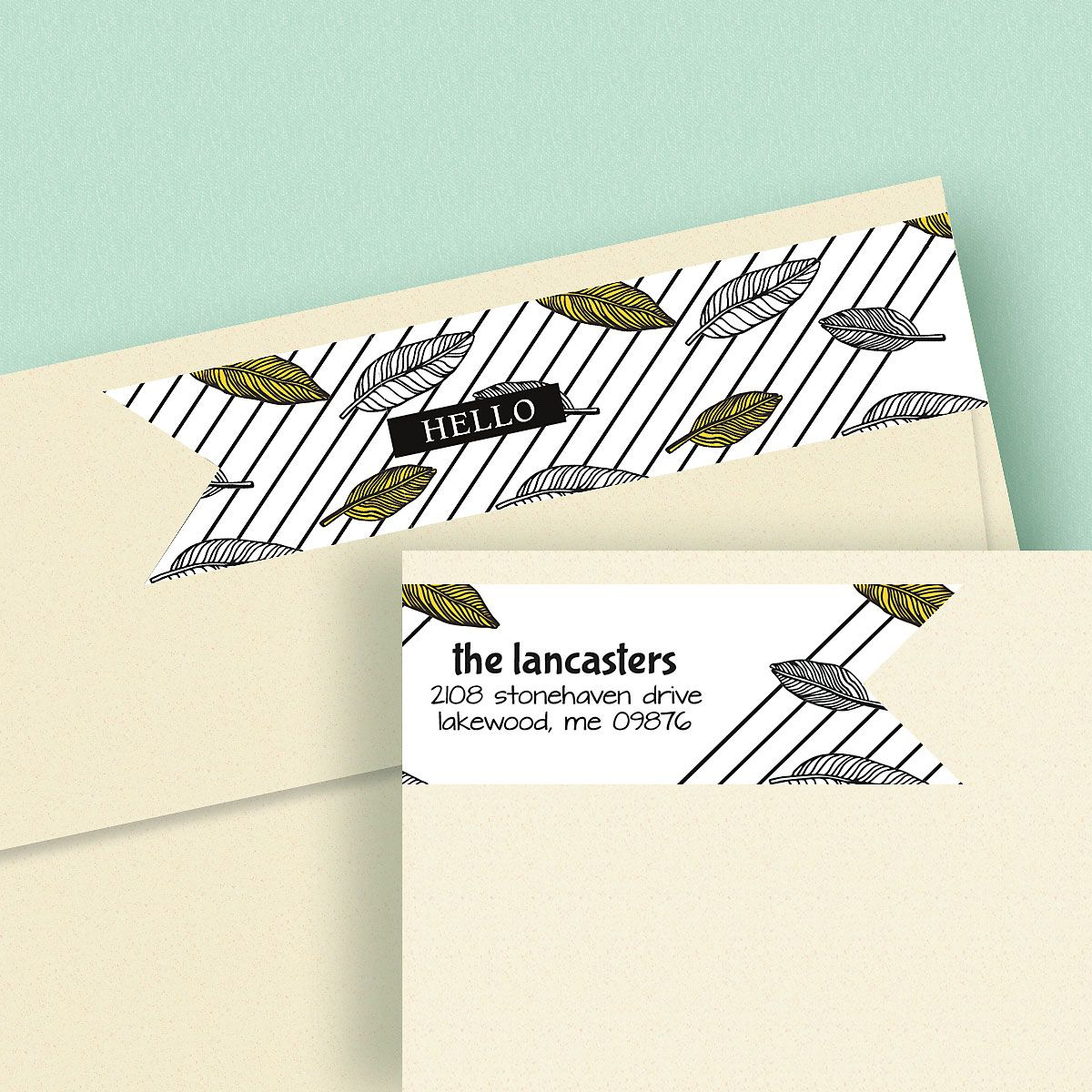A Simple Hello Connect Wrap Diecut Address Labels (4 Designs)