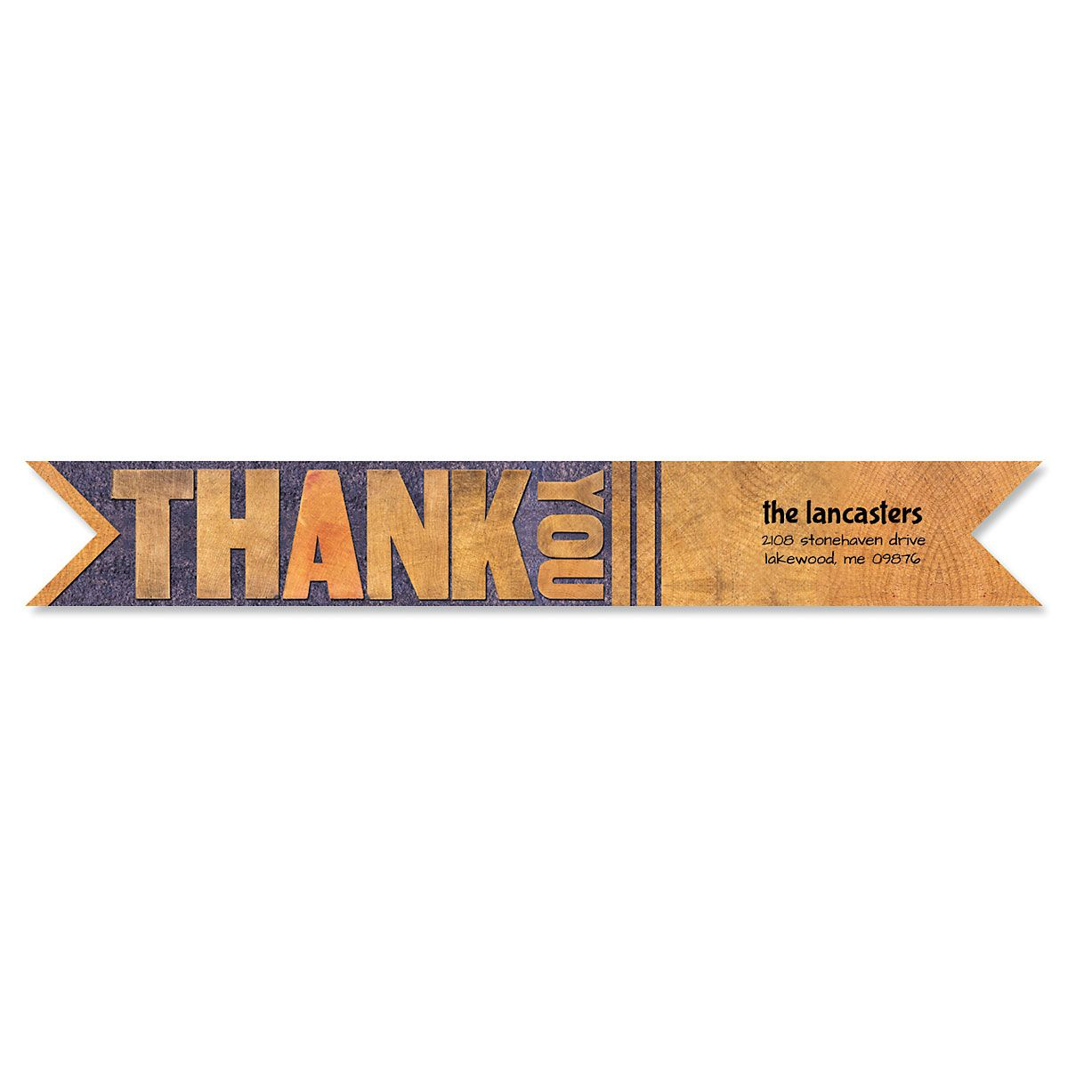 Bold Thank You Connect Wrap Diecut Address Labels