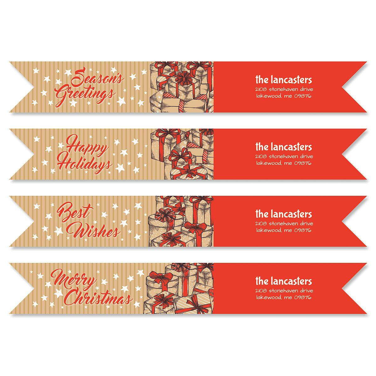 Christmas Carton Connect Wrap Diecut Address Labels (4 Designs)