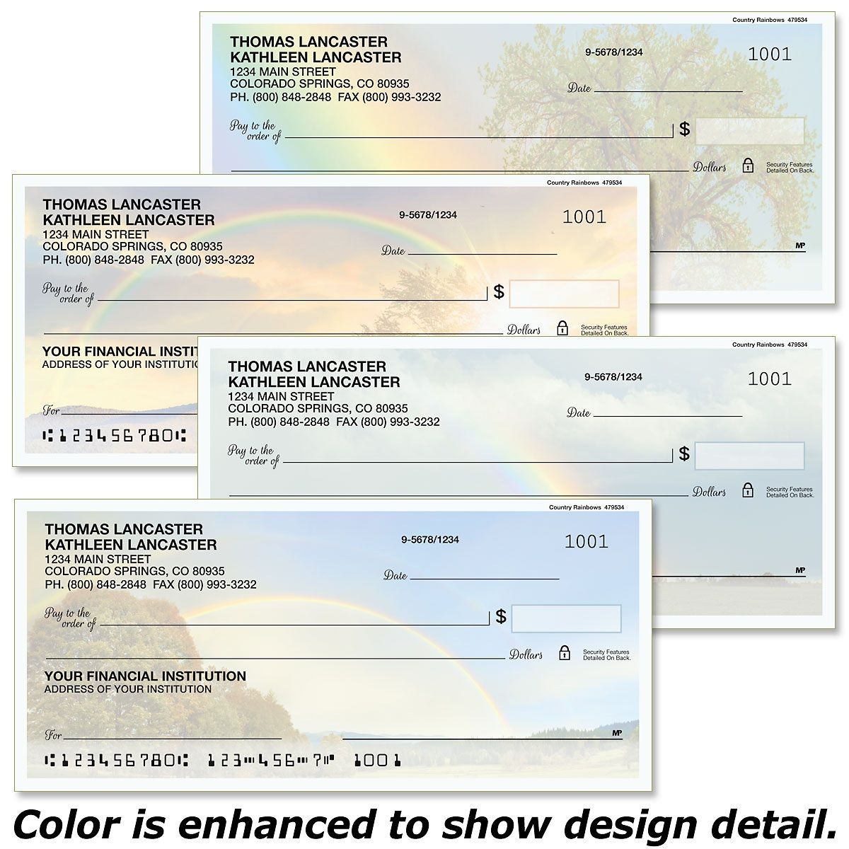 Country Rainbows Personal Checks